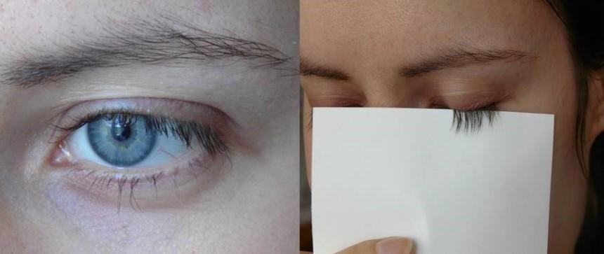 A bal szemem szempillái a tesztelés megkezdése előtt